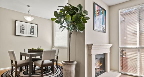 Living Room with Fireplace at Ontario Town Square Townhomes
