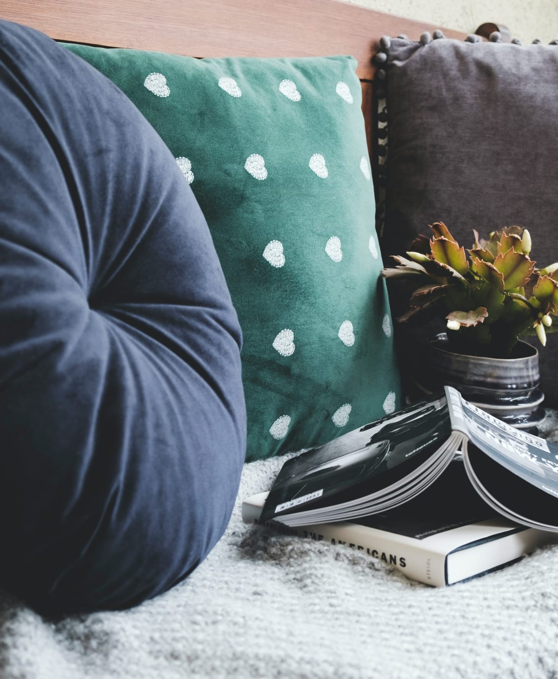 Book with plant on couch wtih pillows