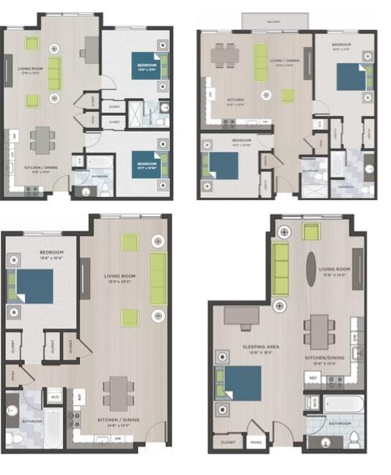 Four two dimensional floor plans.
