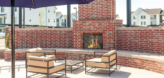 Outdoor Fireplace at RivuletApartments, Utah