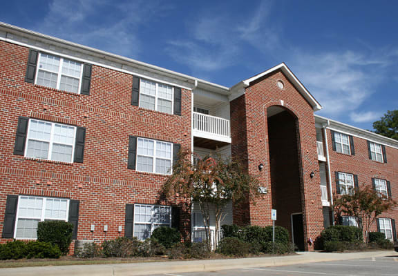 Brick exterior of the apartment buildings at Crescent Commons in Fayetteville, NC