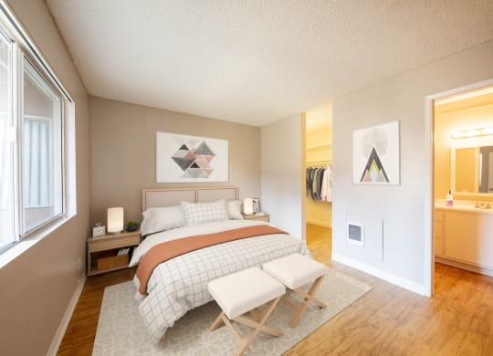 1 Bed- Bedroom & Bathroom