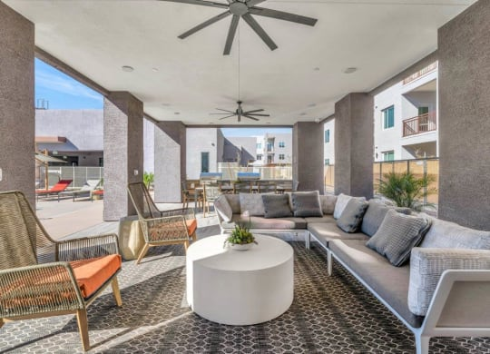 Outdoor Lounge Area at Grayson Place Apartments, Goodyear, AZ, 85395