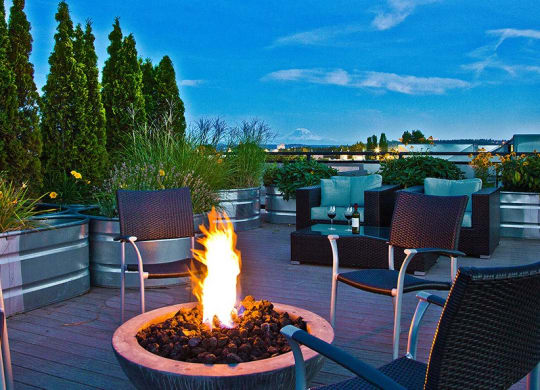 Outdoor Living Area Fire Pits at The Corydon, Seattle, Washington