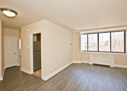 Living area in one bedroom at Richman Towers