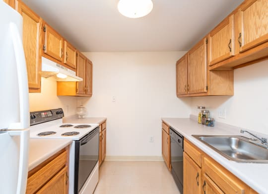 Two bedroom kitchen with oven dishwasher and range