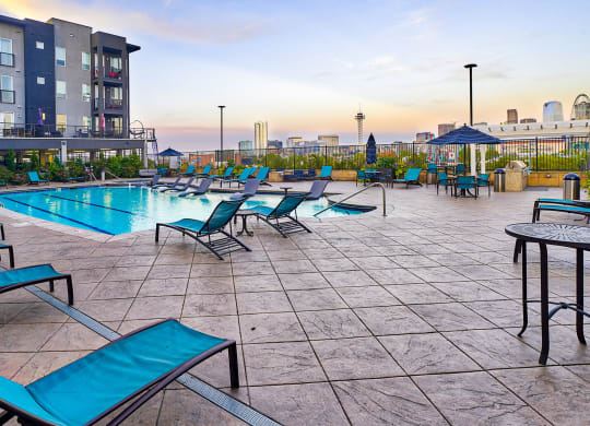 Pool deck with lounge chairs at Element 47 by Windsor, Denver, CO