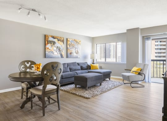 Open concept living room with wood plank flooring