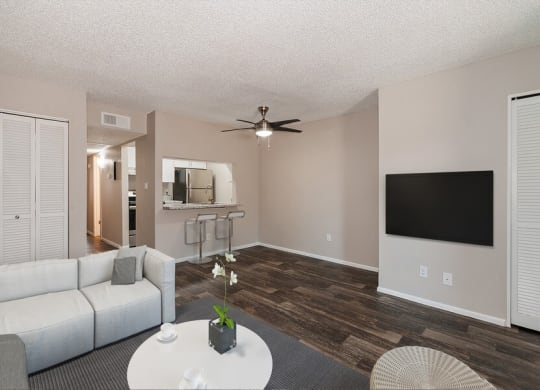Model living room and dining