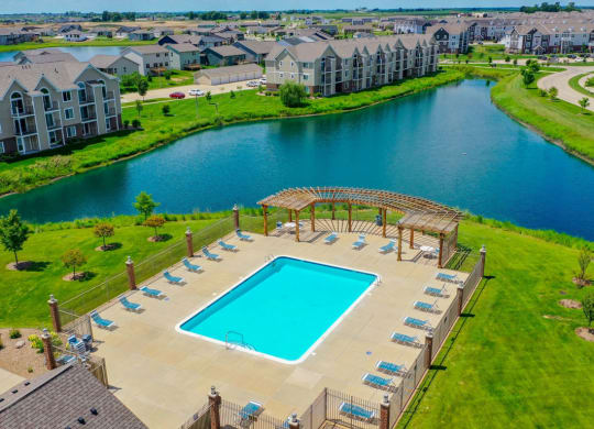 Aerial View Of Pool at Fieldstream Apartment Homes, Ankeny, Iowa
