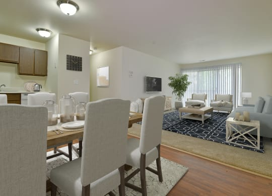 Kitchen and Living room at Grand Bend Club Apartments, Grand Blanc, MI