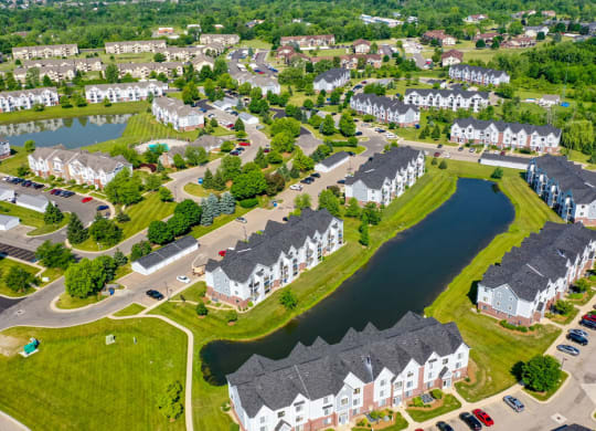 Aerial Community View at Heatherwood Apartments in Grand Blanc, MI