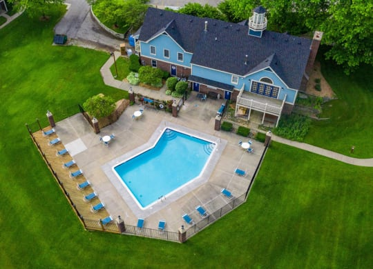 Aerial View Of Pool  at Hurwich Farms Apartments, South Bend, Indiana
