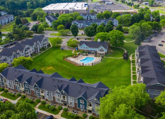 Aerial View Of The Community at Hurwich Farms Apartments, Indiana