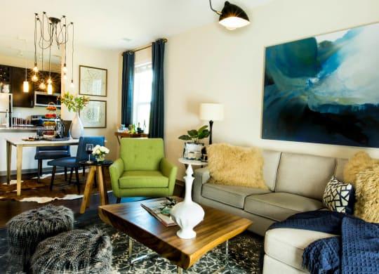 Decorated Living Room at Avellan Springs Apartments, Morrisville, North Carolina