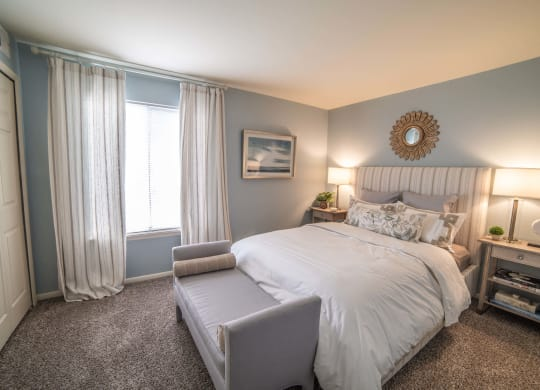 Model Bedroom with Carpeting at Pheasant Run, Lafayette, Indiana
