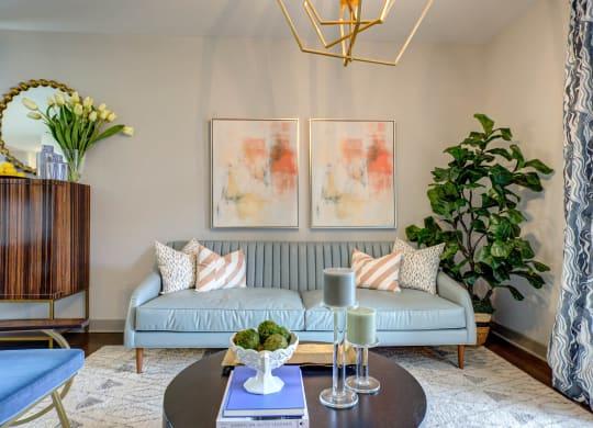 Comfortable Sofa In Living at River Crossing Apartments, Missouri, 63303