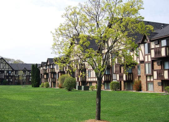 Open Lawns with Lush Landscaping at Normandy Village Apartments, Indiana