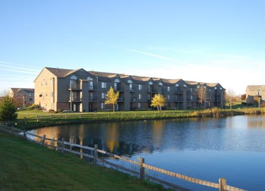 Pond Views from Balconies at Oak Shores Apartments, Oak Creek, WI, 53154