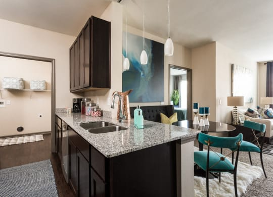 Open Kitchen Design with Pendant Lights at The Avenue at Polaris Apartments, Ohio, 43240