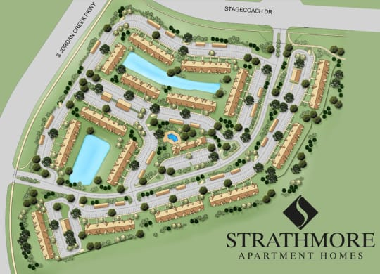 Beautiful Park Like Grounds at Strathmore Apartment Homes in West Des Moines Iowa