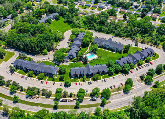 Aerial Property View at Swiss Valley Apartments, Wyoming, Michigan
