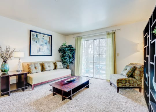 Model Living Room at Bay Pointe Apartments, Lafayette, Indiana