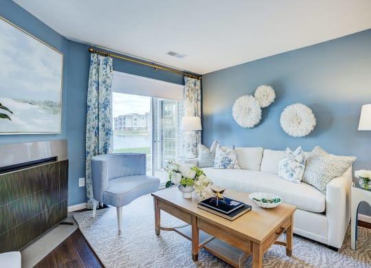 Bright Living Room at Mallard Bay Apartments, Indiana, 46307