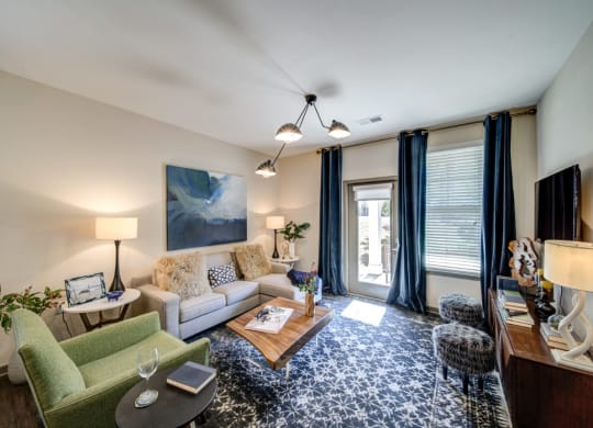 Charming Living Spaces with Glass Door at The Retreat Apartments, Roanoke, Virginia