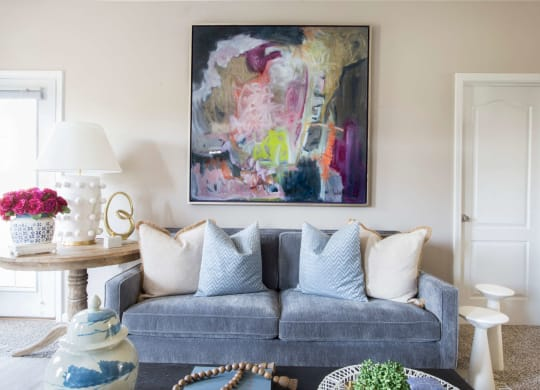 Sofa in Living Room, At Alexandria of Carmel Apartments, 1411 Fairfax Manor Dr, Carmel, IN