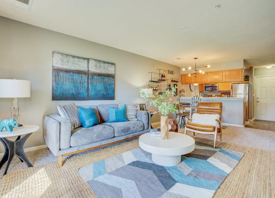 Model Living Room and Kitchen at The Vinings Apartments, Virginia, 23234