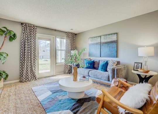 Model Living Room Angle at The Vinings Apartments, Richmond, VA, 23234