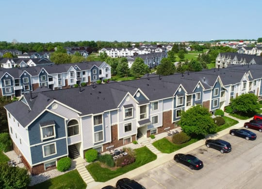 Aerial View Of The Apartments at The Crossings Apartments, Michigan, 49508
