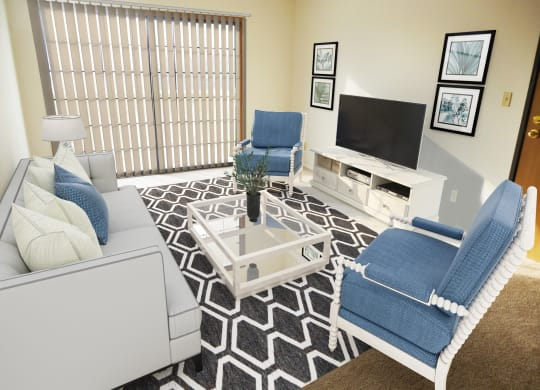Model Living Room of One Bedroom Mulberry Apartment at Tanglewood Apartments, Oak Creek