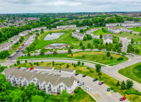 Aerial View Of The Community at West Hampton Park Apartment Homes, Elkhorn, 68022