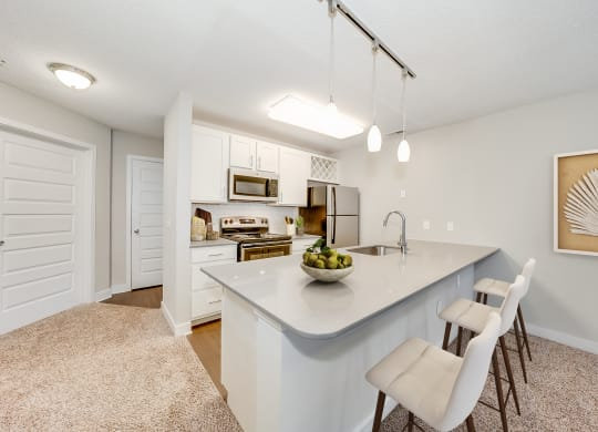 Kitchen Breakfast Bar with Pendant Lighting at Waterfront Apartments, Virginia