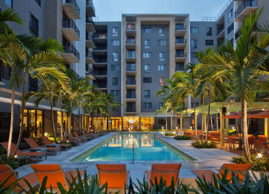 Swimming Pool with Lounge Seating at Berkshire Coral Gables, Florida