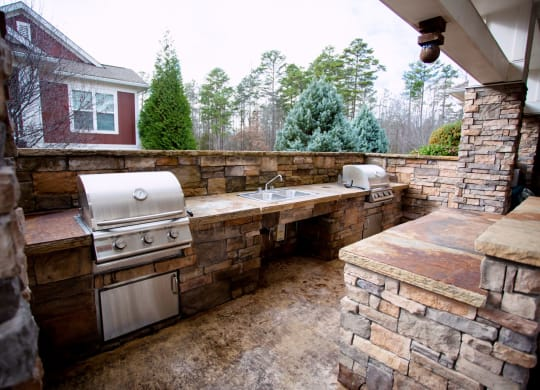 Outdoor kitchen and grilling area at Berkshire Fort Mill, South Carolina, 29715