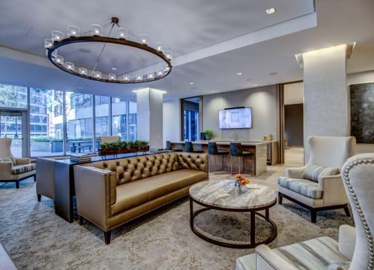 Posh Lounge Area In Status Club at Via Seaport Residences, Boston, Massachusetts