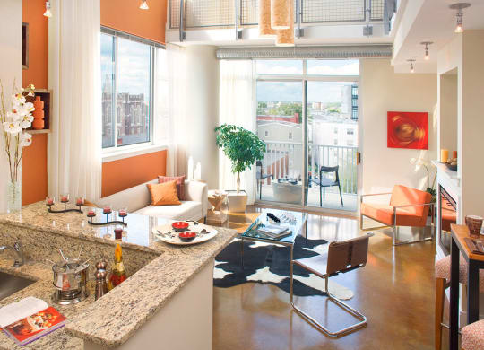 Spacious Living Room With Private Balcony at Highland Park at Columbia Heights Metro, Washington, DC