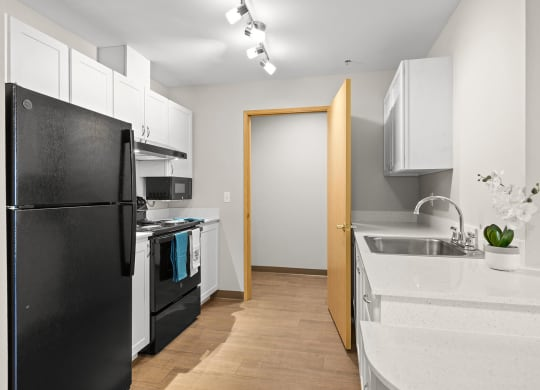 Upgraded Kitchen and Washer Dryer at Meridian Court Apartments in Federal Way WA