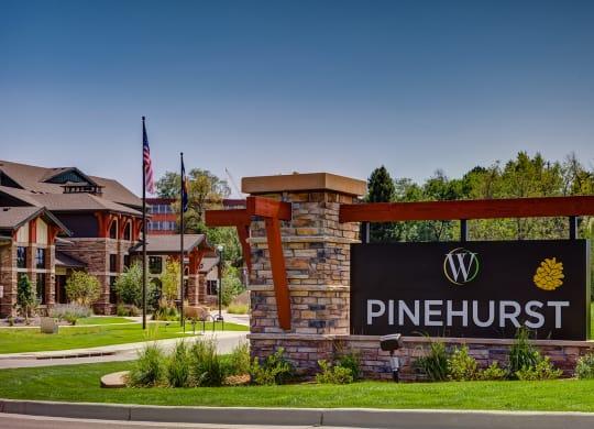 Front signage at Windsor at Pinehurst, Lakewood, CO
