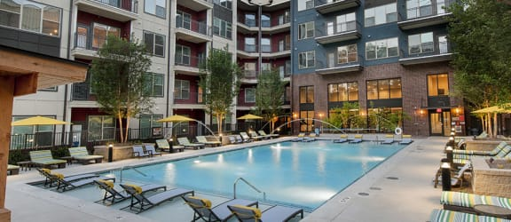 Image of the pool and the sky deck at our community