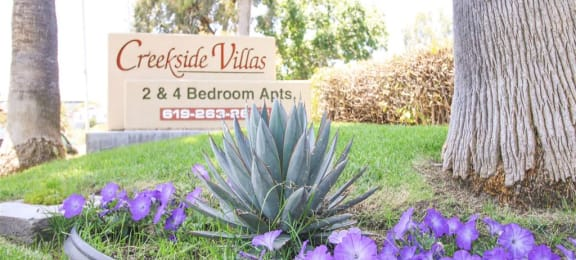 Welcoming Property Signage at Creekside Villas Apartments, San Diego, CA