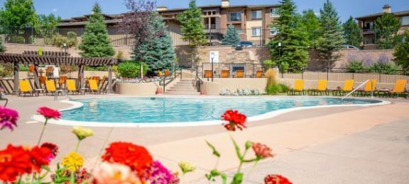Swimming Pool With Relaxing Sundecks at Echo Ridge Apartments, Castle Rock, CO