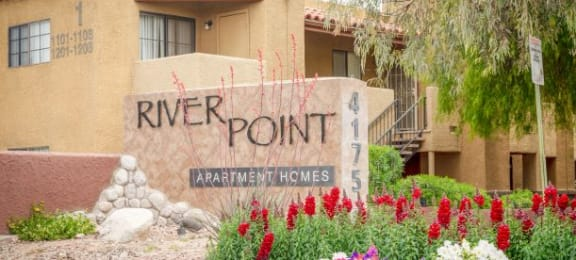 Decorated Property Signage at River PointApartments, Tucson, AZ, 85712