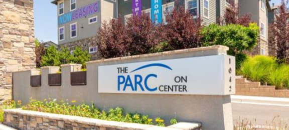 Elegant Entry Signage at Parc on Center Apartments & Townhomes, Orem