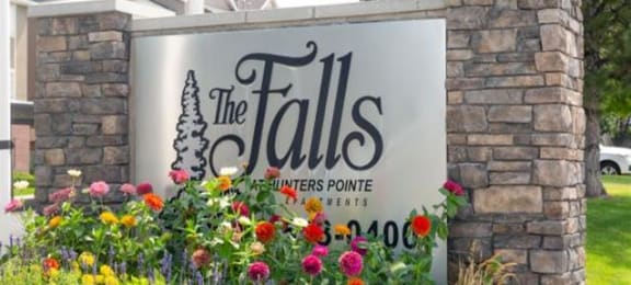 Elegant Entry Signage at Falls at Hunters PointeApartments, Sandy, UT