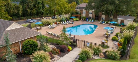 Large swimming pool surrounded by gorgeously maintained landscaping