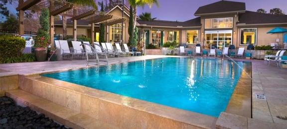 Twilight pool deck, one of five pools